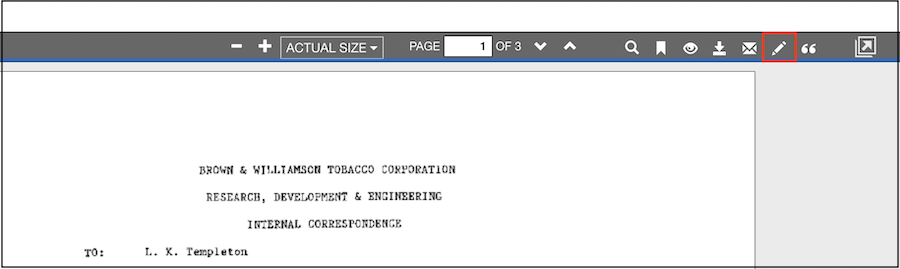 Screenshot showing location of Report Error icon on menu bar of document view